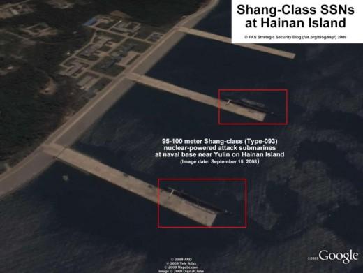 Shang-Class SSNs at Hainan Island