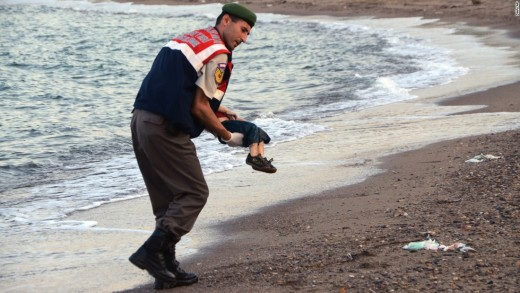 This boy's family was leaving a refugee camp in Turkey.