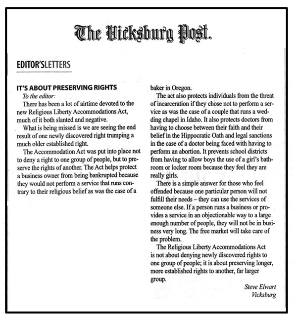 Letter to The Hicksburg Post