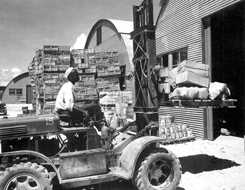 A warehouseman loading supplies