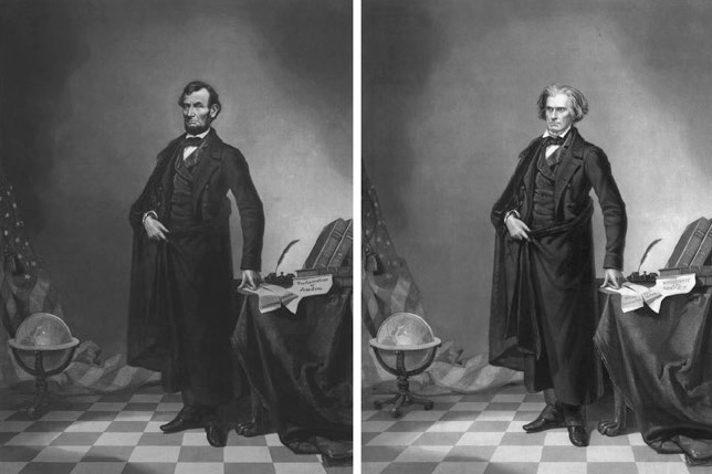 Composit image of Lincoln and John Calhoun