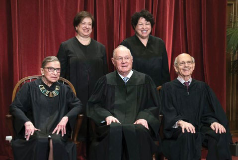 United States Supreme Court Justices: Back row: Elena Kagan, Sonia Sotomayor. Front row: Ruth Bader Ginsburg, Anthony Kennedy, Stephen Breyer (not present: Clarence Thomas, John Roberts, Samuel Alito, Niel Gorsuch)