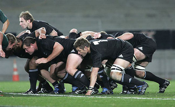 A Rugby Scrum, courtesy AllBlacks.com
