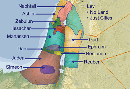 Land assigned to the twelve tribes