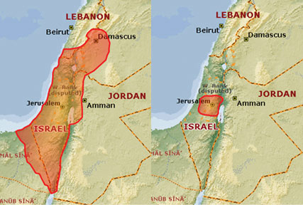The land under the rule of King David, and at the end of the rule of Hezekiah