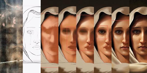 Image showing the painting progression of the portrait of Mary